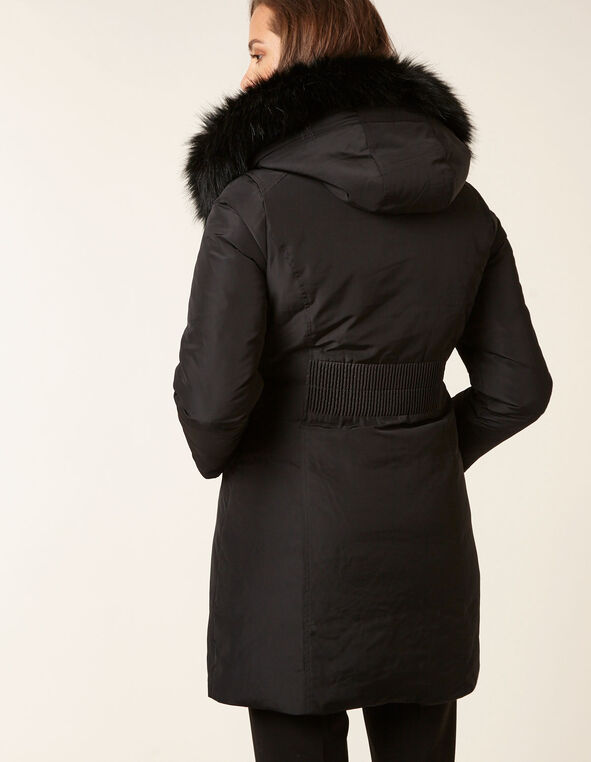 Black Down Asymmetrical Coat, Black, hi-res
