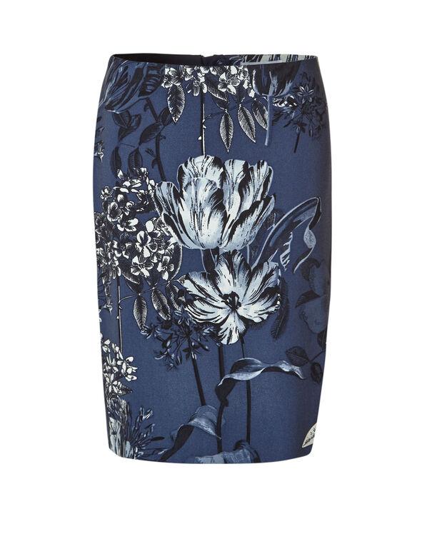 Denim Floral Pencil Skirt, Denim, hi-res