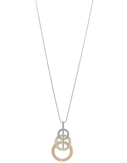 Tri Circle Long Necklace, Silver, hi-res