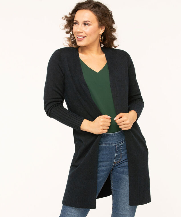 Long Cozy Open Cardigan, Navy, hi-res