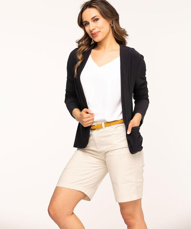 Navy Slim Collar Open Blazer, Navy