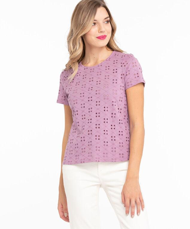 Cotton Eyelet Short Sleeve Top, Dusty Purple