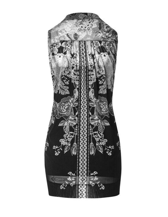 Black Ornate Patterned Tunic Top, Black/White, hi-res