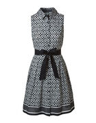 Black & White Cotton Dress, Black/White, hi-res