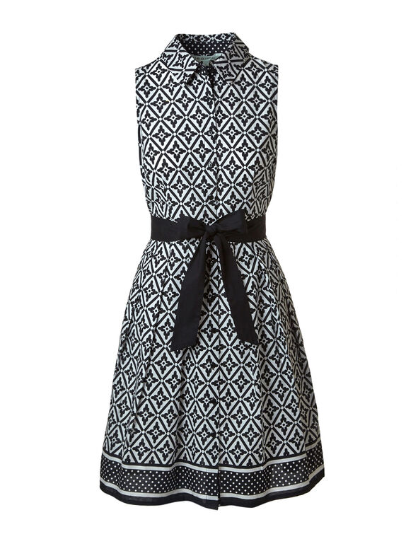 Black & White Cotton Dress, Black/White, hi-res