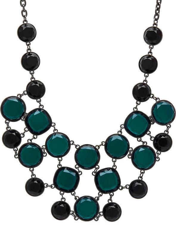Emerald Gem Stone Statement Necklace, Green, hi-res