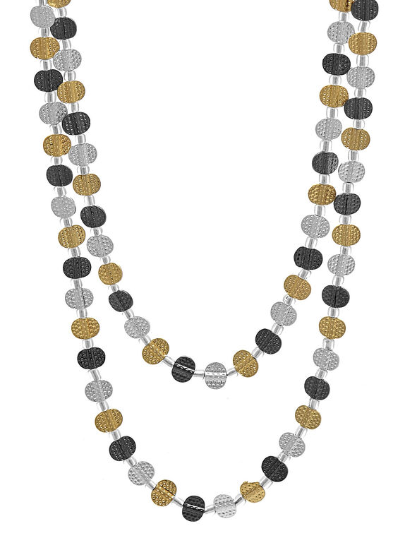 Long Tri-Metal Textured Necklace, Gold/Silver/Hematite, hi-res