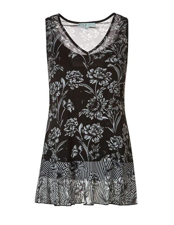 Black Floral Mesh Tunic Top, Black/White, hi-res