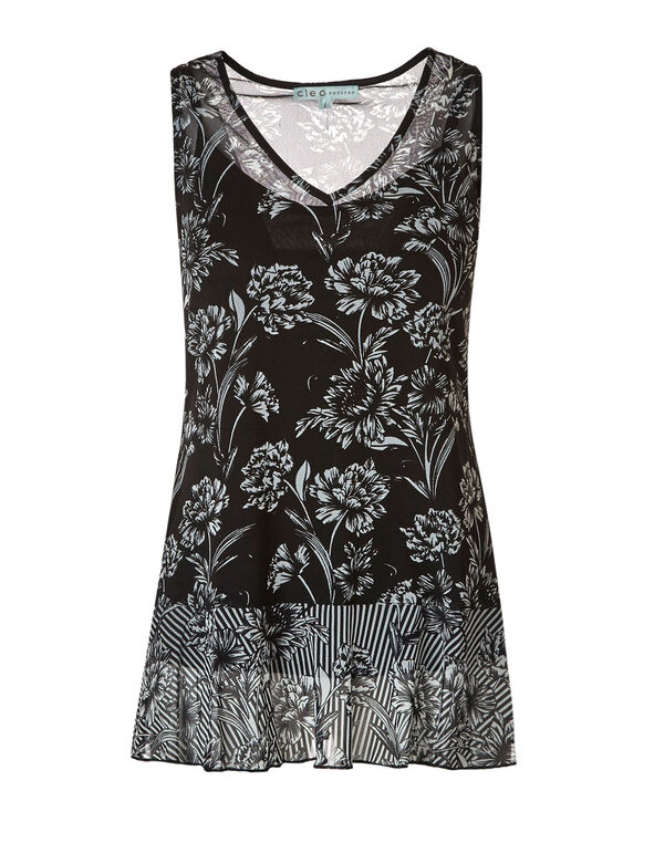 Black Floral Mesh Tunic Top, Black/White, hi-res