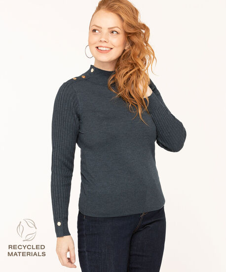 Recycled Mock Neck Sweater, Navy, hi-res