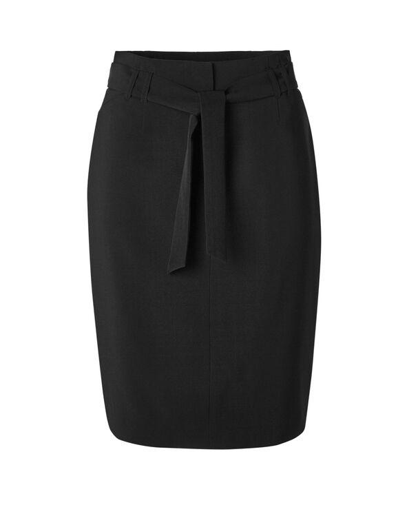 Black Belted Pencil Skirt, Black, hi-res