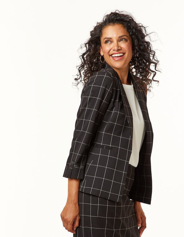 Black Plaid Blazer, Black, hi-res
