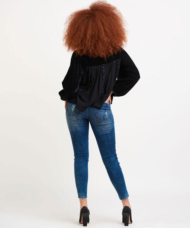 Dex Velvet Sequin Blouse, Black/Velvet Sequin