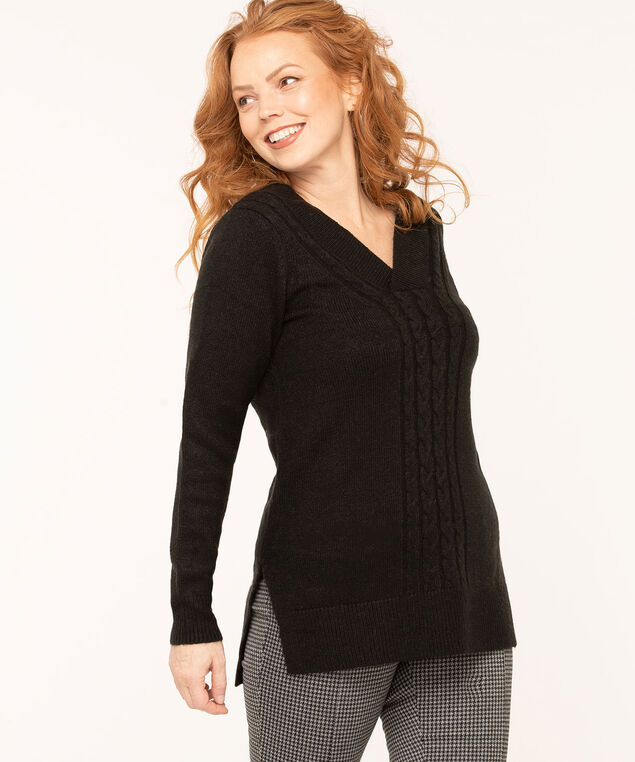 Black Cable Stitch Trim Sweater, Black, hi-res