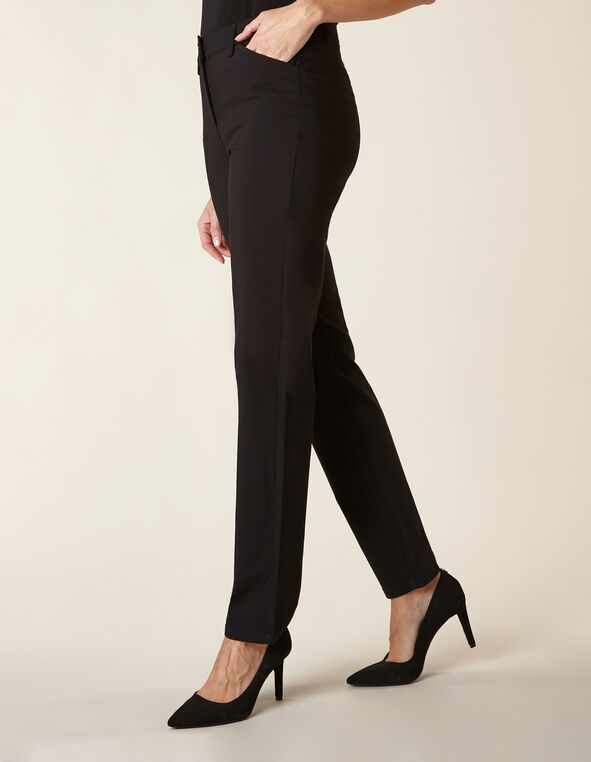 Black Long Butt Lift Slim Pant, Black, hi-res