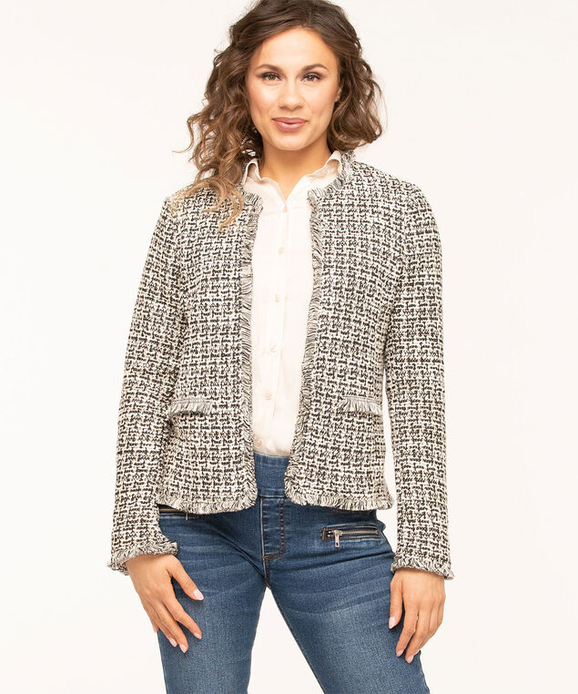 Black Ivory Boucle Open Jacket, Black/Ivory, hi-res