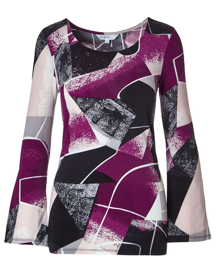 Sangria Abstract Bell Sleeve Top, Sangria/Pink, hi-res