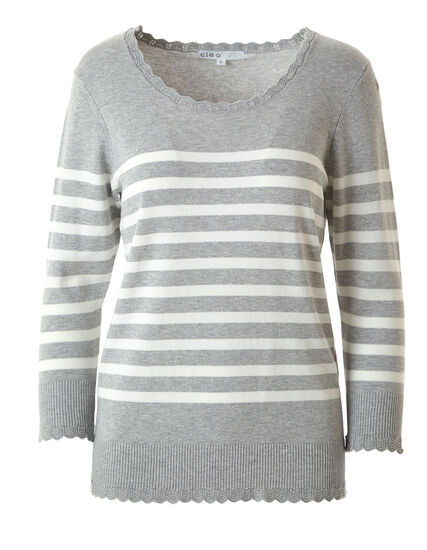 Grey Print Scallop Edge Sweater, Grey, hi-res