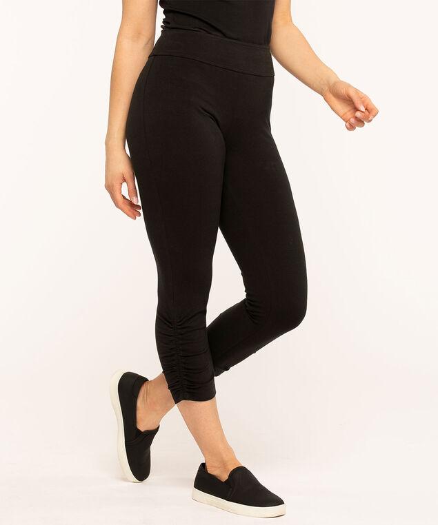 Cotton Ruched Capri Legging, Black