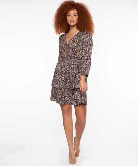 Dex Black Tape Paisley Wrap Dress, Black/Multi Paisley, hi-res