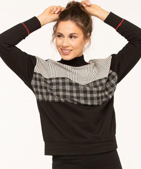 Black Mixed Print Pullover Top, Black/Grey/Ivory, hi-res
