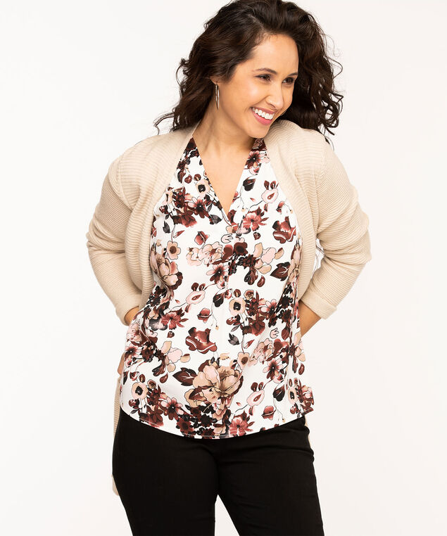 Sleeveless V-Neck Gathered Blouse, Ivory/Brown/Rose Floral
