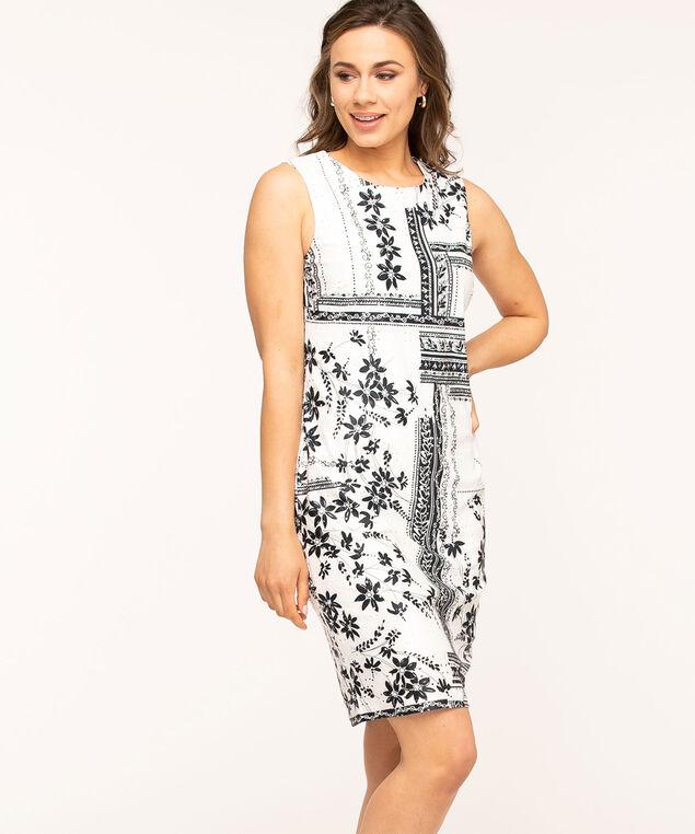Navy Floral Printed Sleeveless Dress, Navy/White
