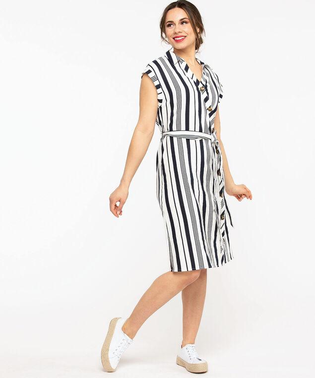 Collared Asymmetrical Button Shirt Dress, Navy Stripe