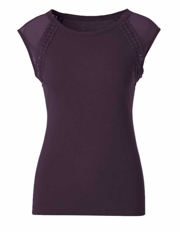 Purple Cotton Mesh Tee, Purple, hi-res