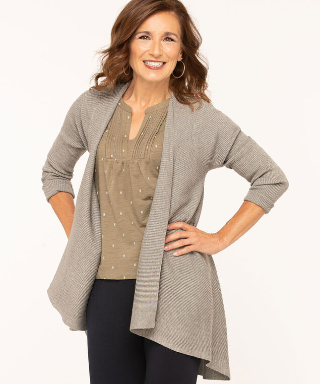Asymmetrical Ribbed Open Cardigan, Grey, hi-res