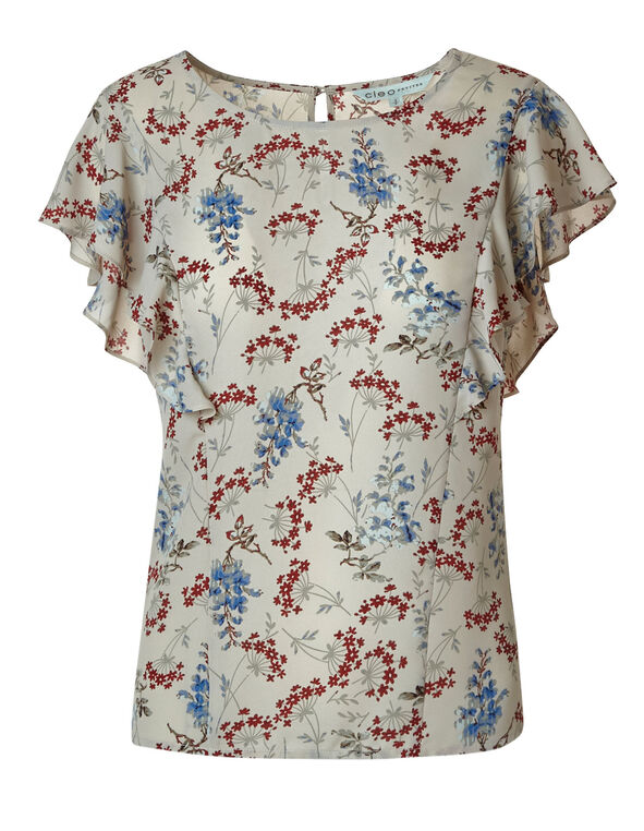 Stone Floral Printed Blouse, Stone, hi-res