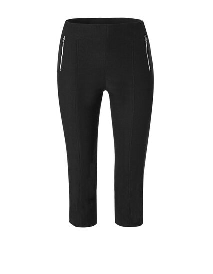 Black Piped Pull On Capri Pant, Black, hi-res