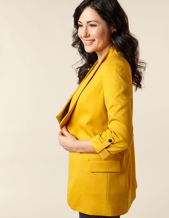 Saffron Waterfall Knit Blazer, Yellow/Saffron, hi-res