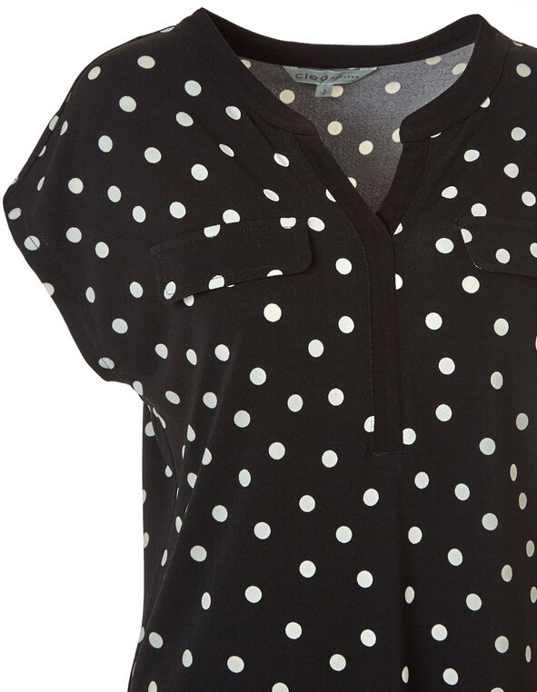 Black Polka Print Top, Black, hi-res