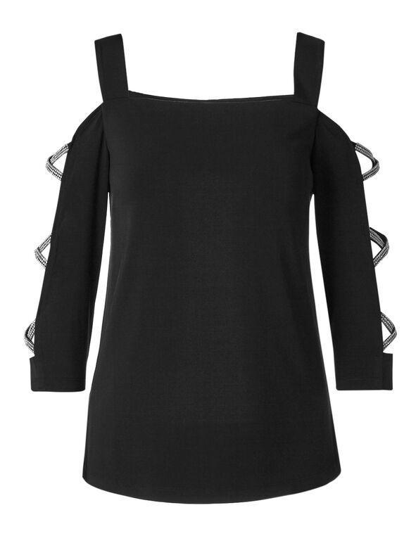 Black Embellished Sleeve Top, Black, hi-res