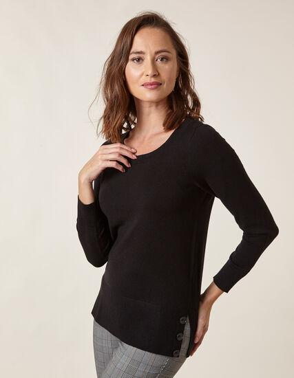 Black Button Detail Sweater, Black, hi-res