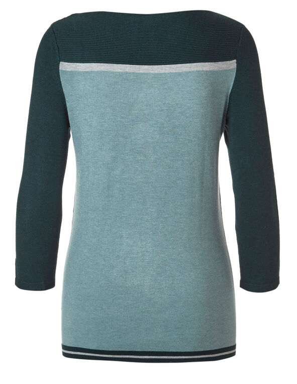 Teal Ribbed Sweater, Teal/Green, hi-res