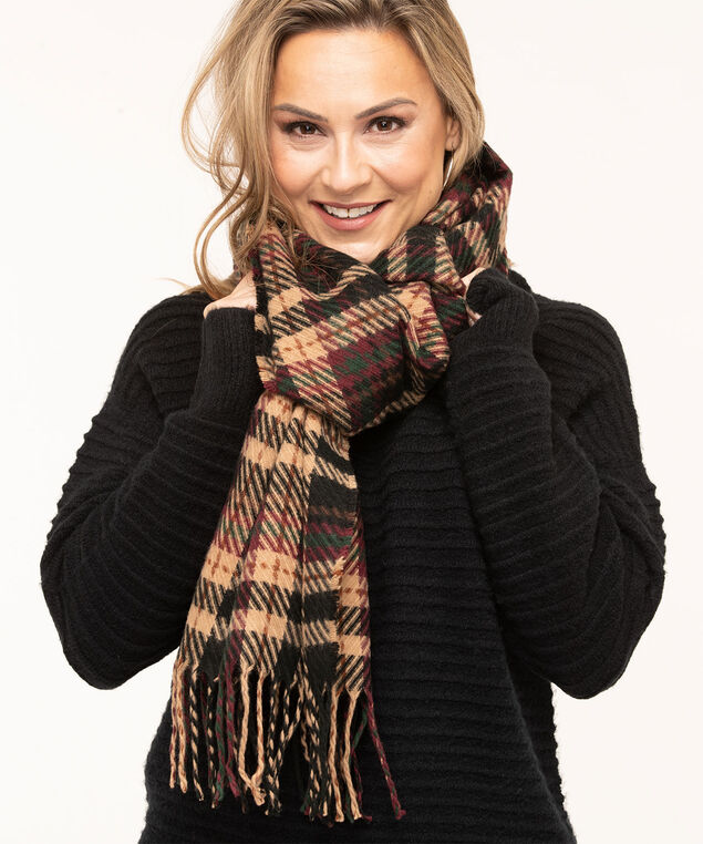 Textured Patterned Oblong Scarf, Camel/Wine Plaid, hi-res