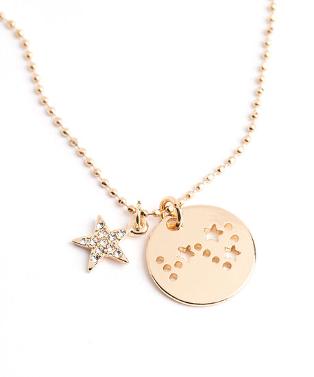 Gold Zodiac Disc Pendant Necklace, Scorpio, hi-res