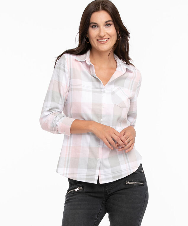 Cotton Flannel Shirt, Ivory/Pink/Grey Plaid