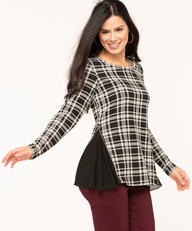 Plaid Jacquard Chiffon Trim Top, Black/White, hi-res