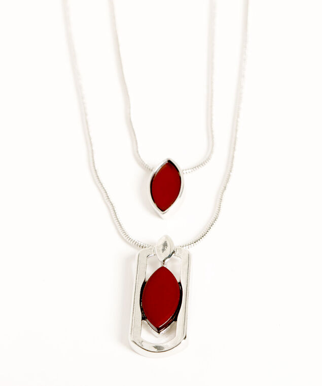 Silver Layered Pendant Necklace, Silver/Red
