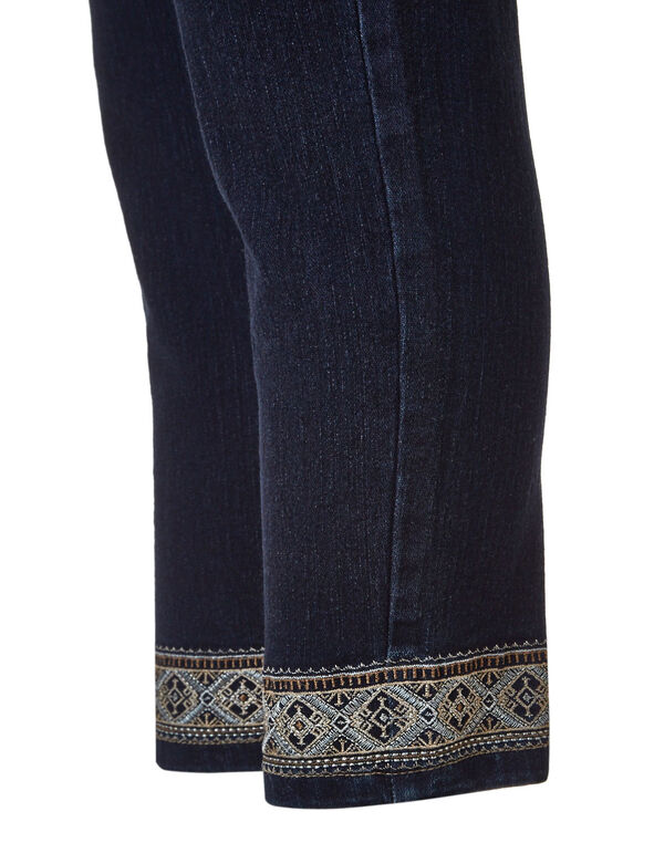 Dark Wash Embroidered Crop Jean, Dark Wash, hi-res