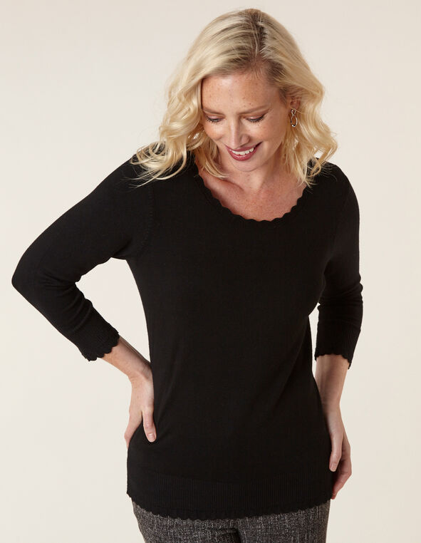 Black Scallop Edge Sweater, Black, hi-res