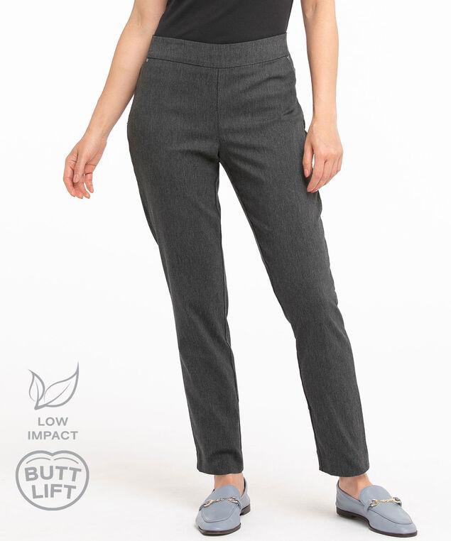 Low Impact Butt Lift Slim Pant, Charcoal Melange