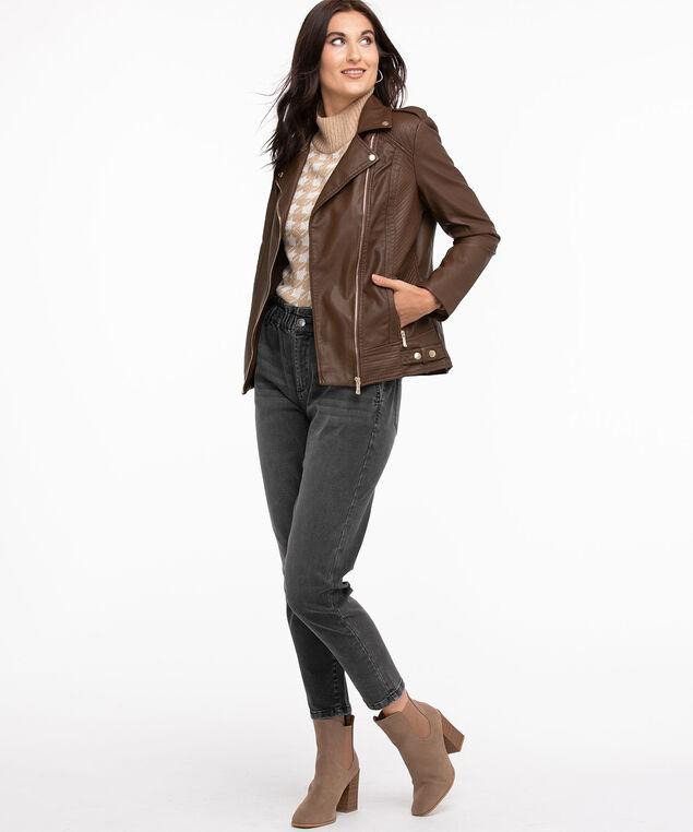 Vegan Leather Moto Jacket, Walnut