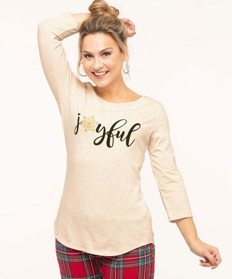 """""""Joyful"""" Pajama Top, Heather Beige, hi-res"""