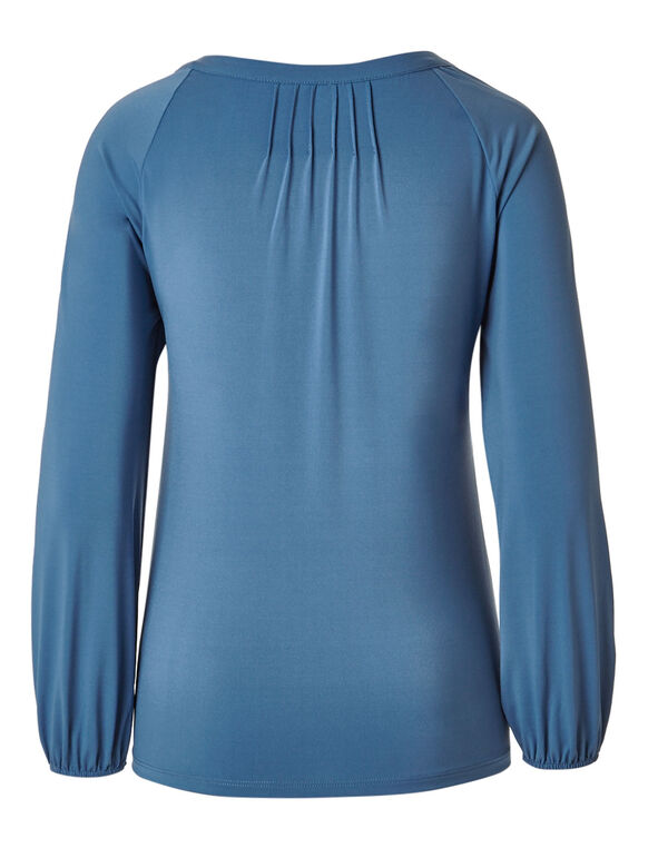 Blue Mesh Embroidered Top, Blue, hi-res
