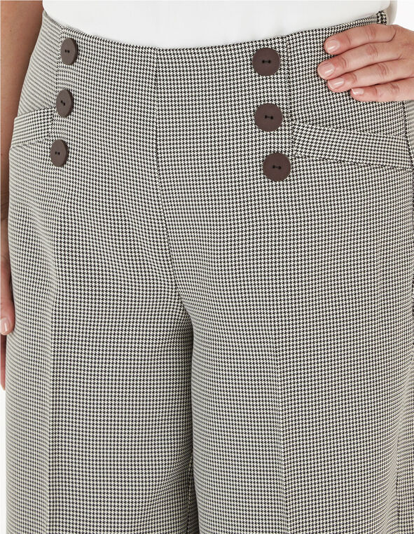 Black Houndstooth Crop Pant, Black/White, hi-res