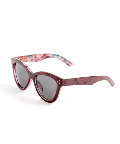 Red Floral Cateye Sunglasses, Red, hi-res